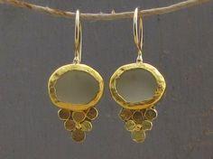 Matte Prehnite Gold Earrings  24k Gold Earrings  Green by Omiya