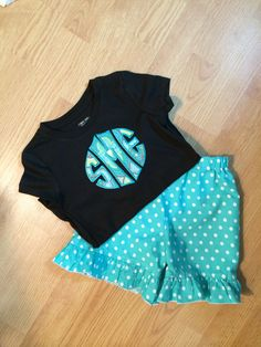 Customer brought me these cute shorts and asked fore to make a coordinating top using her daughter's monogram!