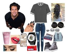 """""""Meeting David Dobrik"""" by originalmrsmalfoy1 ❤ liked on Polyvore featuring Monki, Topshop, Converse, LULUS, Casetify, Fiebiger, INC International Concepts and Dollhouse"""