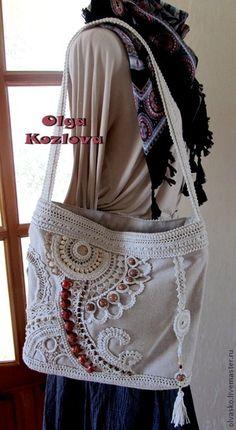 Bag with freeform crochet and bead work. Freeform Crochet, Irish Crochet, Handmade Handbags, Handmade Bags, Linen Bag, Patchwork Bags, Crochet Purses, Crochet Bags, Denim Bag