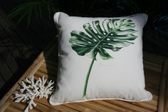 Gorgeous hand painted Barbados tropical leaf cushion from Plumeria Coastal Home Bedroom Decor, Bedroom Ideas, Master Bedroom, Hand Painted Fabric, Coastal Homes, Tropical Leaves, Fabric Painting, Home Values, Product Launch