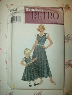 1950s Style Simplicity 9192 Retro Sewing Pattern Mother Daughter Dress Full Skirt, Cap Sleeves, Lapel Sizes 3-8 (child) 6-16 (adult) RARE