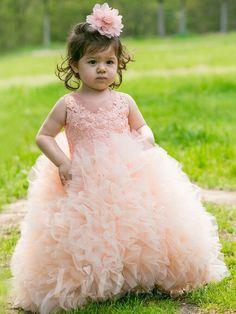 Little Girls Performance Dress Flower Girls Skirt - white/pink/orange