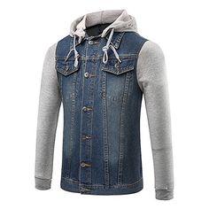 50% OFF SALE PRICE - $29.99 - DAVID.ANN Men's Casual Denim Patchwork Hooded Jacket