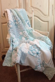 """There is nothing quite like the feel and look of vintage chenille. The aqua and white combination is pure luxury, yet so beautifully Shabby Chic. Deserving of a princess, I have named this quilt """"The"""