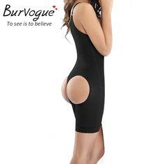 0bd1c069051f3 Burvogue Women Bodysuit Black Full Body Shaper Weight Loss Slimming Body Waist  Shaper Tummy Trimmer Underwear Butt Lifter Firm