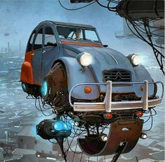 Imaginary world, flying #2CV art by the illustrator Alejandro Burdisio #Citroën | Veooz 360