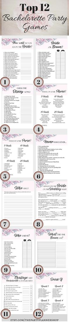 12 Bachelorette Party Games, Printable Bachelorette Party Game, Bridal Shower Game, Hens Night Game  ► WHATS INCLUDED  You will receive 1 ZIP file with the following games:  1. Advice For The Bride On The Wedding Night 2. Whats In Your Purse? 3. never Have I Ever 4. Bride Or Groom 5. How Well Do You Know The Bride? 6. Challenge list, Bachelorette Scavenger Hunt 7. Who Said It? 8. Guess the Disney Song 9. Whats On Your Phone? 10. What Did The Groom Say? 11. Drink If... 12. Who Am I?  ► SIZES…