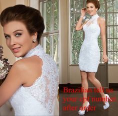Bride Dresses Short Lace Wedding Dresses 2015 Vestido De Noiva Curto