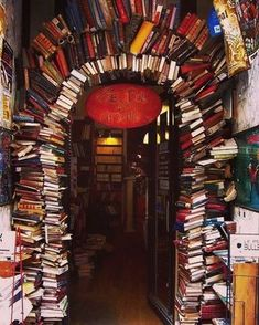 The book archway at Le Bal des Ardents bookstore in Lyon, France #bookstagram…