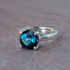 2ct London Blue Topaz Sterling Silver Ring, Cavalier Creations. $74.00