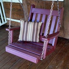 A & L Furniture Traditional English Poly Recycled Plastic 2 ft. Swing Chair Bright Red - 931-BR BRIGHT RED