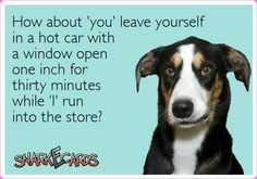How about 'you' leave yourself in a hot car ...If you're interested you can see more of my ecards here: http://www.pinterest.com/rustyfox7/ecards-not-group-board/