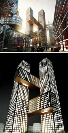 The Hashtag Tower (Seoul, Korea)  The Cross # Towers constitute a three-dimensional urban community of interlocking horizontal and vertical towers. Three public bridges connect two slender towers at different levels – underground.