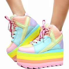 31efeb25a72 Y.R.U. PASTEL QOZMO Hi Platform Sneaker SIZE 6