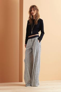 Le Fashion Blog Maiyet Resort 2015 Collection Crop Top Long Necklace Striped Wide Leg Pants