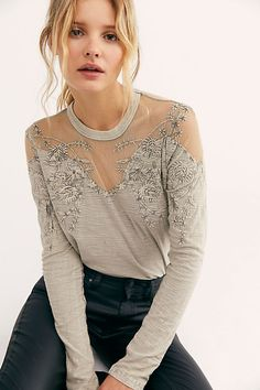 57 Long-Sleeve Going-Out Tops to Add to Your Night-Out Wardrobe, Stat Night Out Tops, Free People Clothing, Clothing Ideas, Mesh Long Sleeve, Free People Store, Going Out Tops, Lace Tops, Sheer Tops, Fall Winter Outfits