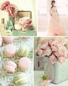 mint, blush pink and ivory