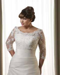 Plus size wedding dress | fitted | Sweetheart neckline | Lace jacket | Bonny Bridal Unforgettable 1215 1299