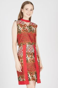 Sell Keraton Dress in Red Batik-cap | Berrybenka.net