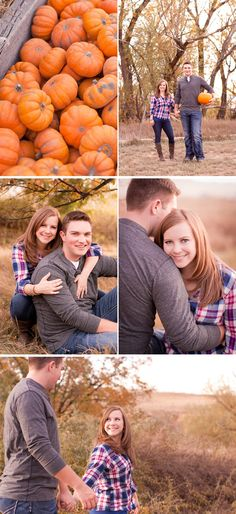 Plaid Pumpkin Patch Fall Engagement Session in Colorado - WeddingWire: The Blog