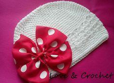 Gorrito para Bebe a Crochet con Lazo!!! a892514ba22