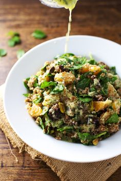Spinach, Date, and Bulgur Moroccan Salad with Pistachios and Orange Cilantro Dressing *