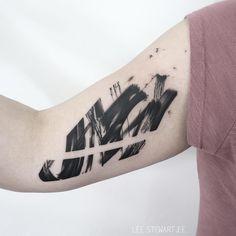 Tattoo artist Lee Stewart blackwork abstract tattoo in auhors brushstroke style Picture Tattoos, Cool Tattoos, Tatoos, Blackwork, Brush Stroke Tattoo, Trash Polka Tattoo, Tattoo Magazines, Bird Silhouette, Brush Strokes
