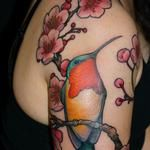 jeff gogue hummingbird & cherry blossom #tattoo