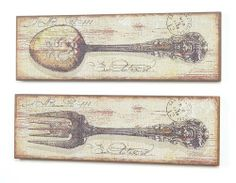 You have GOT to check out this simple method of putting pictures onto wood! DIY Vintage Chic: Spoon and Fork Vintage Artwork Diy Wall Art, Diy Art, Wall Art Decor, Home Office Furniture Sets, Furniture Ideas, Forks And Spoons, Kitchen Wall Art, Kitchen Decor, Vintage Artwork