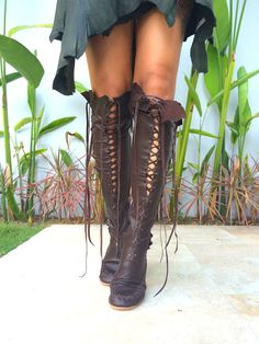 'Madagascar Chocolate' Leather Knee High Boots