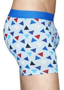 Happy Socks modré boxerky s barevnými trojúhelníky