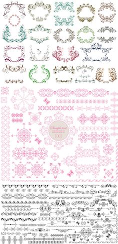 FREE Vector ornament templates, but can do double duty for creating beautiful ink Zentangle, Ornament Template, Free Vector Graphics, Vector Vector, Design Poster, Borders And Frames, Vintage Labels, Web Design, Swirls