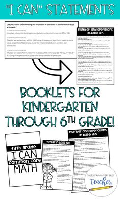 """I created these booklets to help educate parents about common core math. Each CCSS for math is deconstructed and formed into an """"i can"""" statement. This makes it easier for parents and students to understand what is being asked of them. It's also a great w"""
