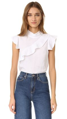 Mcguire Denim Sorbonne Top In White Peplum Shirts, Basic Tops, Denim Top, Blouse Designs, Lace Back, Crop Tops, Clothes For Women, Ruffle Blouse, Womens Fashion