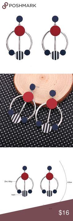 Original Design Geometric Hoop Drop Earrings Modern eye-catching design.  Each pair weigh approx. 16g.  BRAND NEW. Jewelry Earrings