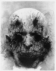 This is another overdrawn image by Arnulf Rainer which I really like as it has taken a simple portrait and turned it into a more a horror image which changes the image completely.