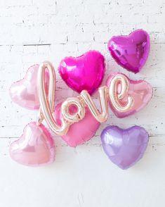 Love Script and Foil Hearts Backdrop — Paris312 Engagement Party Decorations, Balloon Decorations Party, Backdrops, Love Balloon, Elegant Bridal Shower, Wedding Balloons, Candy Buffet, Party Wedding, Love