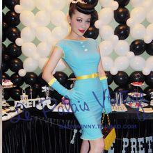 O ENVIO GRATUITO de 2015 Estilo Verão Le Palais Edição Limitada Do Vintage Pin Up Sexy Margarida Azul Bainha Sólidos Vestido Sem Mangas Para mulheres(China (Mainland))