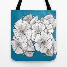 Zentangle Blue and Gold Hibiscus Blossoms for Flower Lovers Tote Bag by Vermont Greetings - $22.00