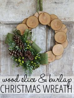 Pair a burlap riboon with craft-store wood slices for a cozy, neutral craft that looks at home in any room.