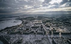 Chernobyl Pripyat Aerial Clouds Snow Winter Buildings Abandon Deserted apocalyptic dark horror nuclear radiation.