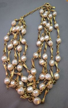 J Crew Baroque Pearl Necklace Multi Strand 4 Bead Gold Plated Link Designer NICE #JCrew #Statement SOLD!