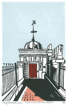 East Cliff Lift Ramsgate by AndyjjohnsonLinocuts