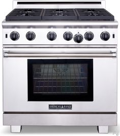 "American Range ARROB636 36"" Pro-Style Gas Range with 6 Open Burners, 5.3 cu. ft. Innovection Oven, Manual Clean, Infrared Broiler and Island Trim Included"