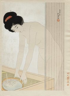 when you know your name is safe - arsvitaest: Woman filling a basin at a sink . Japanese Drawings, Japanese Painting, Japanese Prints, Geisha Art, Aesthetic Japan, Tempera, Japan Art, Gravure, Anime Guys