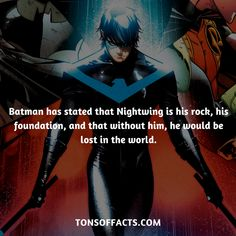 Batman has stated that Nightwing is his rock his foundation and that without h - Be Batman - Ideas of Be Batman - Batman has stated that Nightwing is his rock his foundation and that without him he would be lost in the world. Marvel Facts, Marvel Dc Comics, Batman Facts, Marvel Funny, Im Batman, Batman Comics, Batman Arkham, Batman Robin, Tim Drake