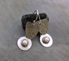 Freshwater Cultured Pearl Floral Earrings by 2di4jewelryoriginals