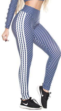 bee42179008fbb Dunas - Workout Legging - High Waist Stripes & Plaid Navy/White