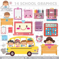 School Clipart School Graphics COMMERCIAL USE by GraphicAdventure